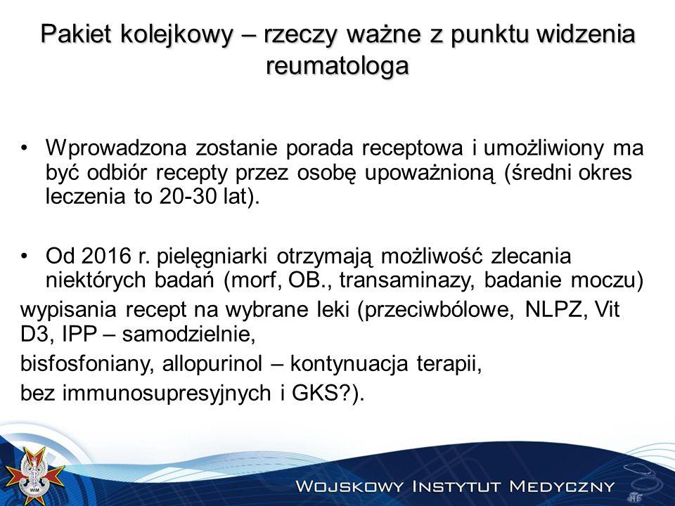 Kalkulacja finansowa – koszty roczne  Wizyty pierwszorazowe – karta pacjenta reumatycznego !!.
