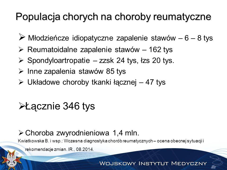 Populacja chorych na choroby reumatyczne  Młodzieńcze idiopatyczne zapalenie stawów – 6 – 8 tys  Reumatoidalne zapalenie stawów – 162 tys  Spondyloartropatie – zzsk 24 tys, łzs 20 tys.