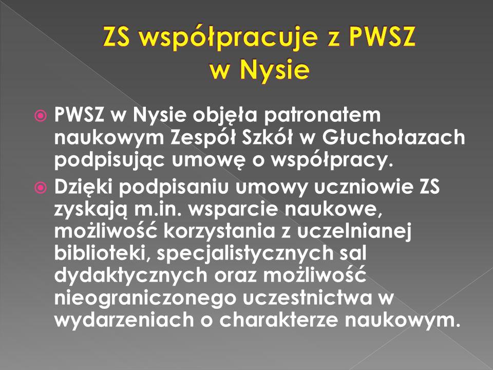  PWSZ w Nysie objęła patronatem naukowym Zespół Szkół w Głuchołazach podpisując umowę o współpracy.
