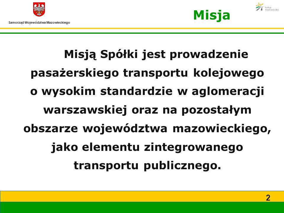 2 Misja Misją Spółki jest prowadzenie pasażerskiego transportu kolejowego o wysokim standardzie w aglomeracji warszawskiej oraz na pozostałym obszarze