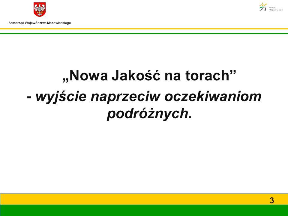 """Samorząd Województwa Mazowieckiego 3 """"Nowa Jakość na torach"""" - wyjście naprzeciw oczekiwaniom podróżnych."""