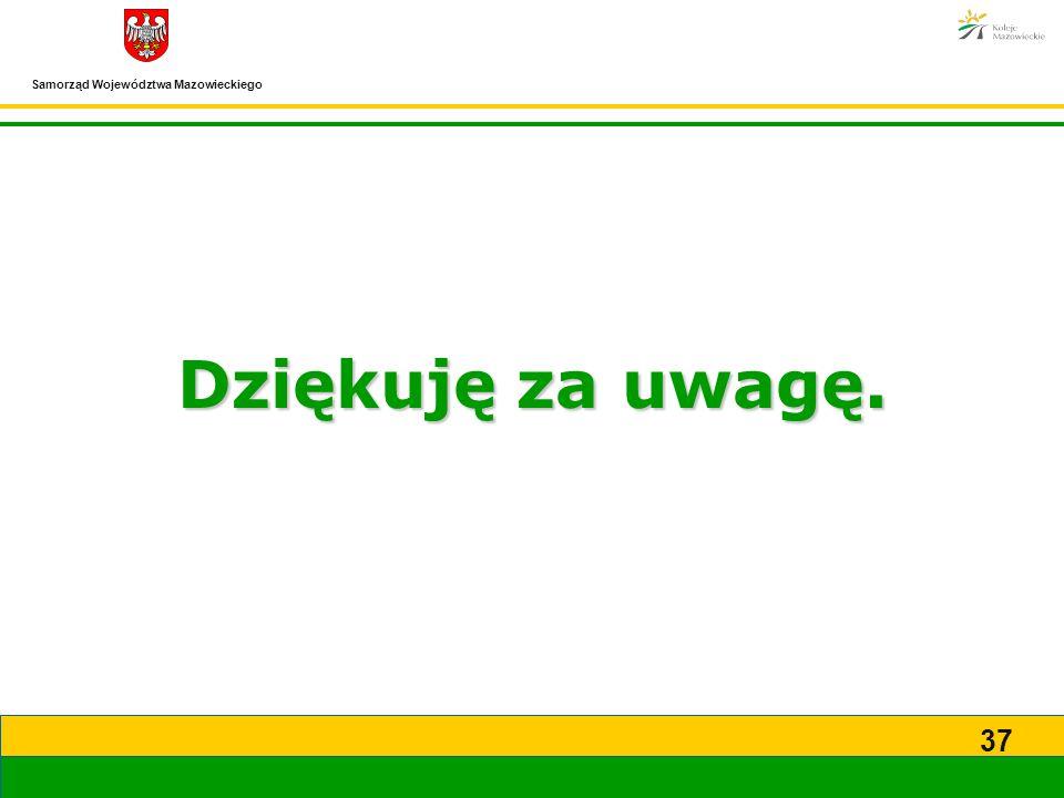Samorząd Województwa Mazowieckiego 37 Dziękuję za uwagę.
