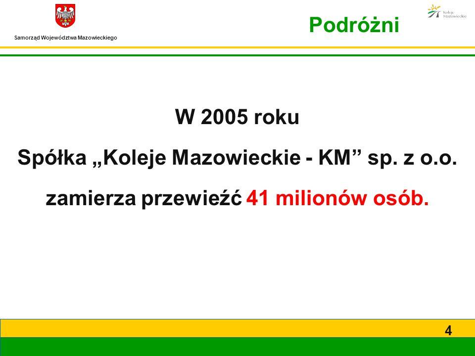 """Samorząd Województwa Mazowieckiego 4 Podróżni W 2005 roku Spółka """"Koleje Mazowieckie - KM"""" sp. z o.o. zamierza przewieźć 41 milionów osób."""