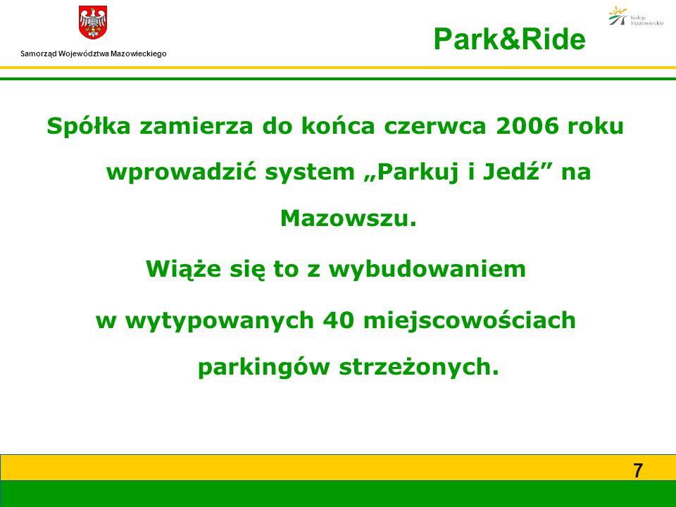 """Samorząd Województwa Mazowieckiego 7 Spółka zamierza do końca czerwca 2006 roku wprowadzić system """"Parkuj i Jedź"""" na Mazowszu. Wiąże się to z wybudowa"""