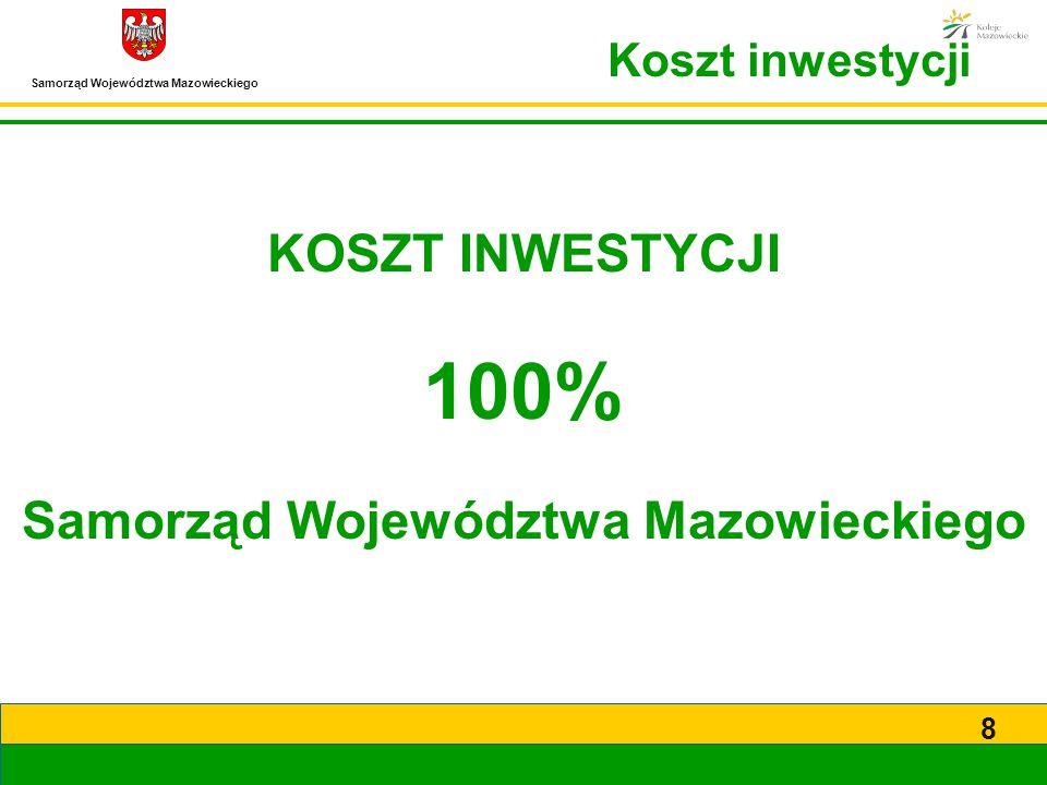 Samorząd Województwa Mazowieckiego 8 KOSZT INWESTYCJI 100% Samorząd Województwa Mazowieckiego Koszt inwestycji