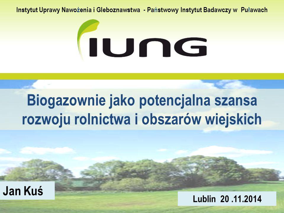 Biogazownie jako potencjalna szansa rozwoju rolnictwa i obszarów wiejskich Jan Kuś Lublin 20.11.2014 Instytut Uprawy Nawożenia i Gleboznawstwa - Państ