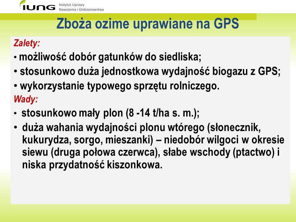 Zboża ozime uprawiane na GPS Zalety: możliwość dobór gatunków do siedliska; stosunkowo duża jednostkowa wydajność biogazu z GPS; wykorzystanie typoweg