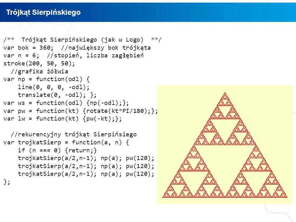/** Trójkąt Sierpińskiego (jak w Logo) **/ var bok = 360; //największy bok trójkąta var n = 6; //stopień, liczba zagłębień stroke(200, 50, 50); //grafika żółwia var np = function(odl) { line(0, 0, 0, -odl); translate(0, -odl); }; var ws = function(odl) {np(-odl);}; var pw = function(kt) {rotate(kt*PI/180);}; var lw = function(kt) {pw(-kt);}; //rekurencyjny trójkąt Sierpińsiego var trojkatSierp = function(a, n) { if (n === 0) {return;} trojkatSierp(a/2,n-1); np(a); pw(120); }; Trójkąt Sierpińskiego