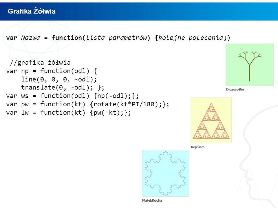 var Nazwa = function(lista parametrów) {kolejne polecenia;} //grafika żółwia var np = function(odl) { line(0, 0, 0, -odl); translate(0, -odl); }; var ws = function(odl) {np(-odl);}; var pw = function(kt) {rotate(kt*PI/180);}; var lw = function(kt) {pw(-kt);}; Grafika Żółwia
