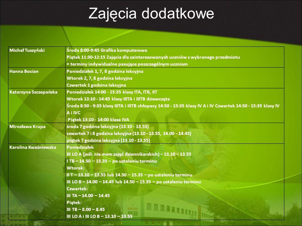 Marlena Wojciechowska klasa IV TOŚ - piątek 13:10 (7 godzina lekcyjna) klasa TUISEO -zajęcia umawiane są indywidualnie wg potrzeb Anna StawarzPoniedziałek 8.50-9.35 - maturzyści (klasy czwarte) 14.50-15.35 - klasa ITa Czwartek 8.50 - 9.35 - maturzyści (klasy czwarte) 12.20-13.05 - klasa I LO Piątek 8.00-8.45 - maturzyści (klasy czwarte) 8.50-9.35 - klasa II LO Marcin DudkowskiŚroda – 9 godz.