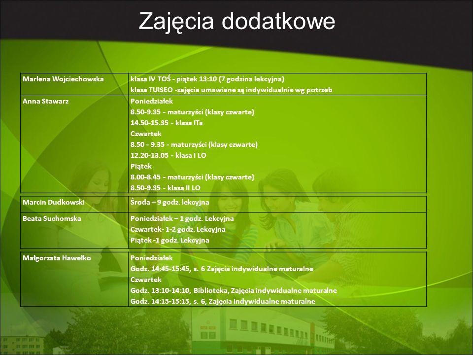 Marlena Wojciechowska klasa IV TOŚ - piątek 13:10 (7 godzina lekcyjna) klasa TUISEO -zajęcia umawiane są indywidualnie wg potrzeb Anna StawarzPoniedzi