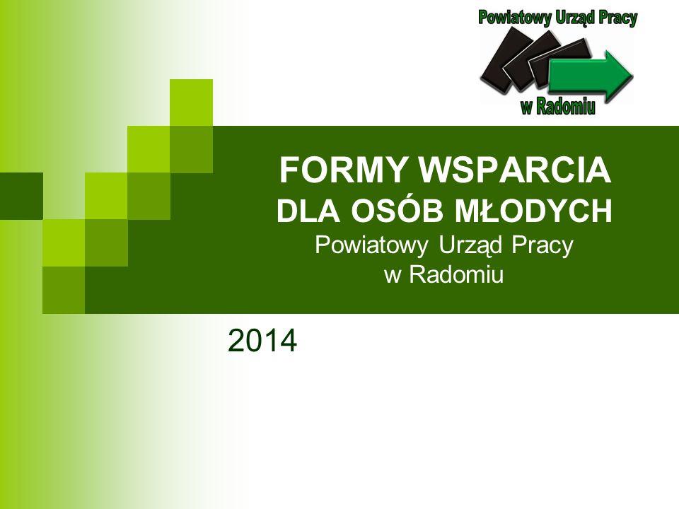 FORMY WSPARCIA DLA OSÓB MŁODYCH Powiatowy Urząd Pracy w Radomiu 2014