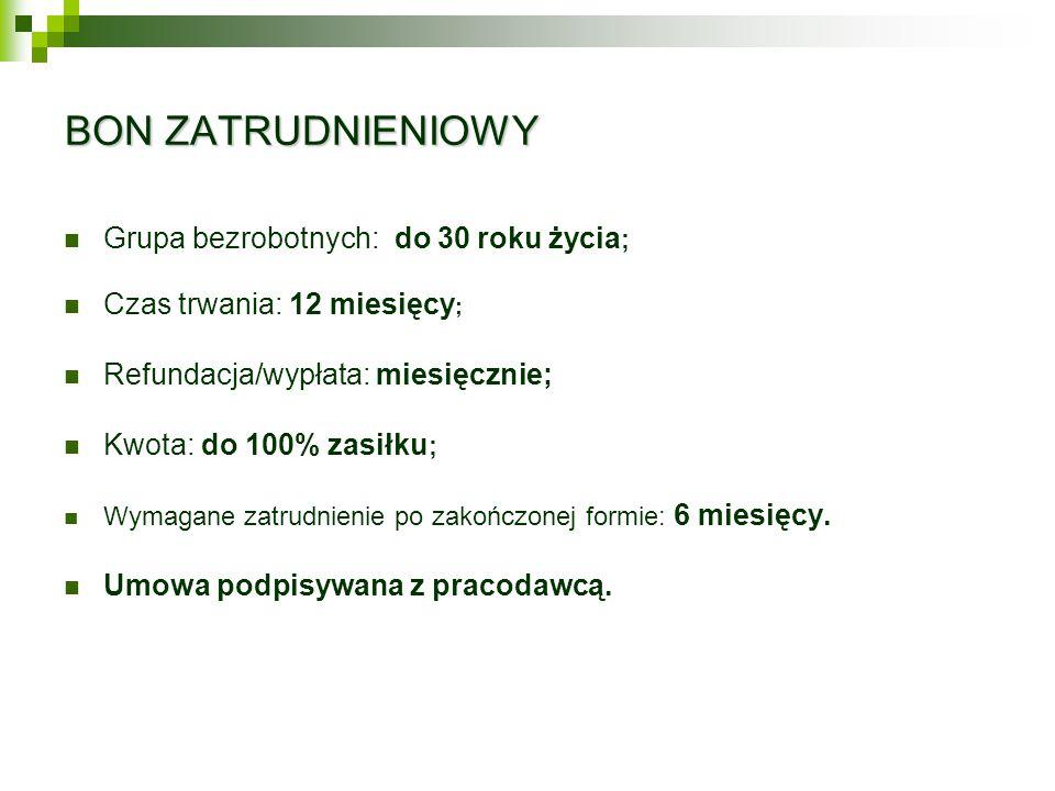BON ZATRUDNIENIOWY Grupa bezrobotnych: do 30 roku życia ; Czas trwania: 12 miesięcy ; Refundacja/wypłata: miesięcznie; Kwota: do 100% zasiłku ; Wymagane zatrudnienie po zakończonej formie: 6 miesięcy.