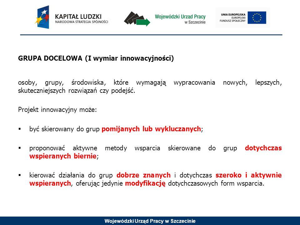 Wojewódzki Urząd Pracy w Szczecinie GRUPA DOCELOWA (I wymiar innowacyjności) osoby, grupy, środowiska, które wymagają wypracowania nowych, lepszych, skuteczniejszych rozwiązań czy podejść.