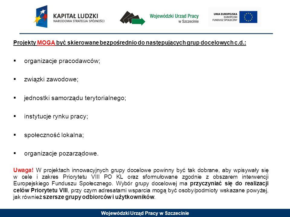 Wojewódzki Urząd Pracy w Szczecinie Projekty MOGĄ być skierowane bezpośrednio do następujących grup docelowych c.d.:  organizacje pracodawców;  związki zawodowe;  jednostki samorządu terytorialnego;  instytucje rynku pracy;  społeczność lokalna;  organizacje pozarządowe.
