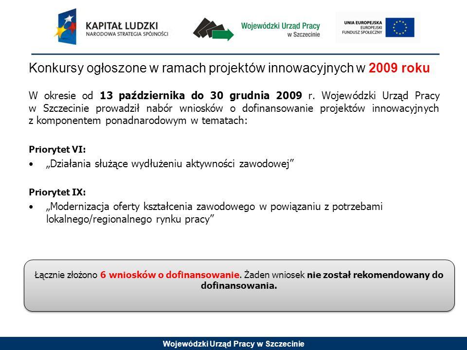 """Wojewódzki Urząd Pracy w Szczecinie Konkursy ogłoszone w ramach projektów innowacyjnych w 2010 roku Priorytet VII: Poszukiwanie metod wczesnej interwencji socjalnej i przeciwdziałania wykluczeniu społecznemu dzieci i młodzieży """"Zwiększenie oferty istniejących, wykreowanie nowych instytucji działających na rzecz integracji społecznej grup marginalizowanych, wykluczonych bądź zagrożonych wykluczeniem społecznym Priorytet VIII: """"Tworzenie i wdrażanie systemowych rozwiązań podwyższających innowacyjność i adaptacyjność pracowników i przedsiębiorstw na poziomie regionalnym """"Wsparcie świadczenia w jednym miejscu kompleksowych usług - informacyjnych, doradczych i finansowych - dla przedsiębiorców i osób zamierzających rozpocząć prowadzenie działalności gospodarczej """"Analiza, testowanie i wdrażanie idei flexicurity Trzy wnioski spośród 22 złożonych w odpowiedzi na konkursy innowacyjne w ramach Priorytetu VII i VIII zostały odrzucone na etapie oceny formalnej."""