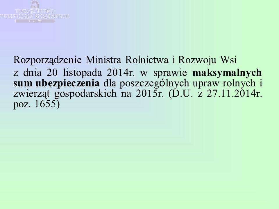 Rozporządzenie Ministra Rolnictwa i Rozwoju Wsi z dnia 20 listopada 2014r. w sprawie maksymalnych sum ubezpieczenia dla poszczeg ó lnych upraw rolnych