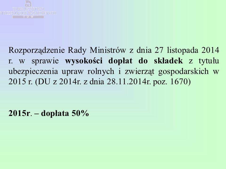 Rozporządzenie Rady Ministrów z dnia 27 listopada 2014 r. w sprawie wysokości dopłat do składek z tytułu ubezpieczenia upraw rolnych i zwierząt gospod