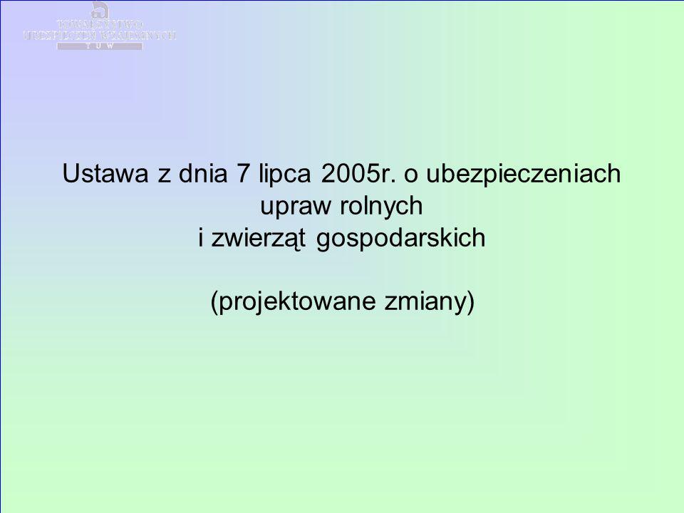 Ustawa z dnia 7 lipca 2005r. o ubezpieczeniach upraw rolnych i zwierząt gospodarskich (projektowane zmiany)