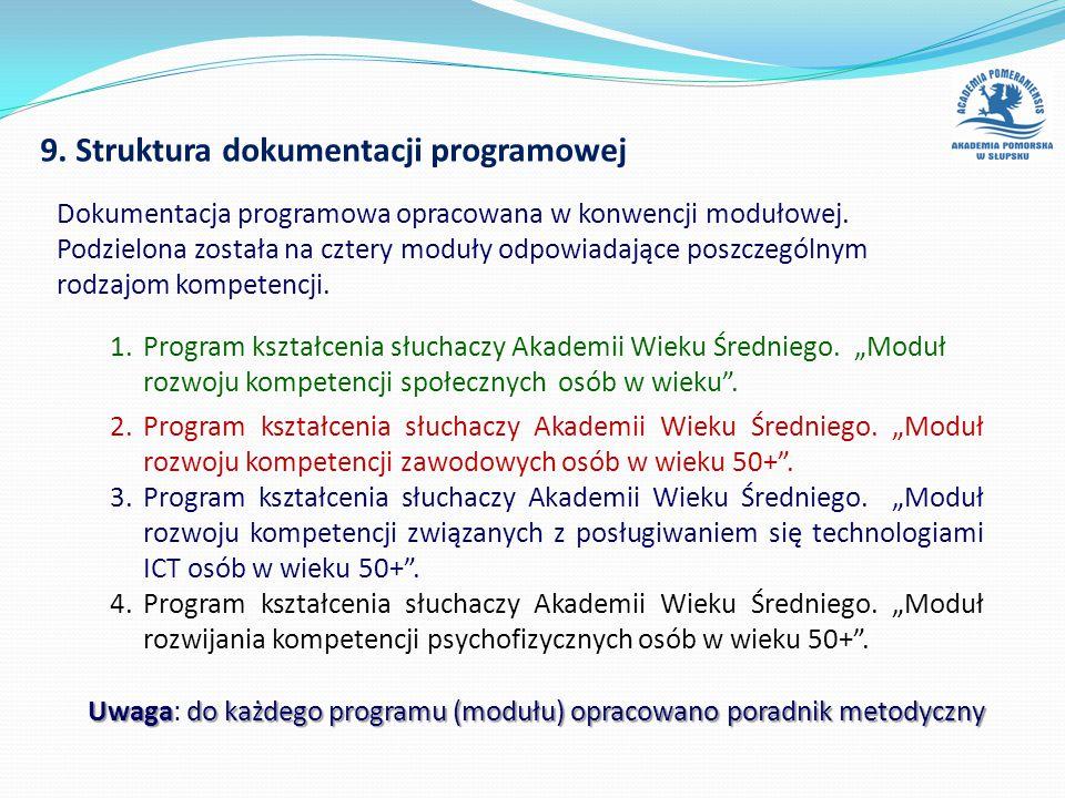 9. Struktura dokumentacji programowej 1.Program kształcenia słuchaczy Akademii Wieku Średniego.