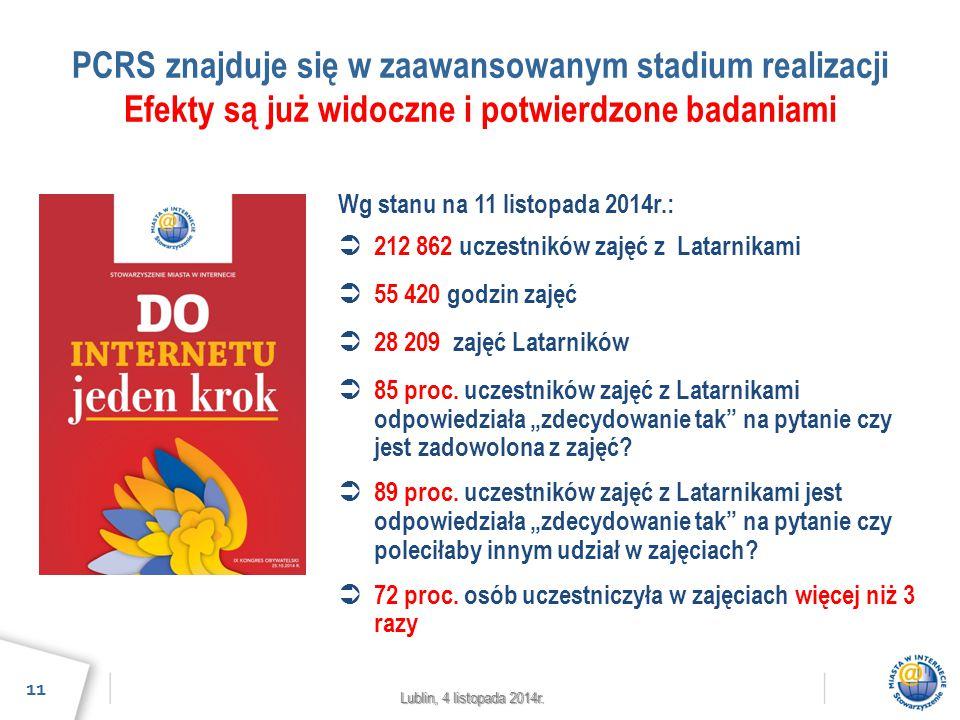 Lublin, 4 listopada 2014r. PCRS znajduje się w zaawansowanym stadium realizacji Efekty są już widoczne i potwierdzone badaniami 11 Wg stanu na 11 list