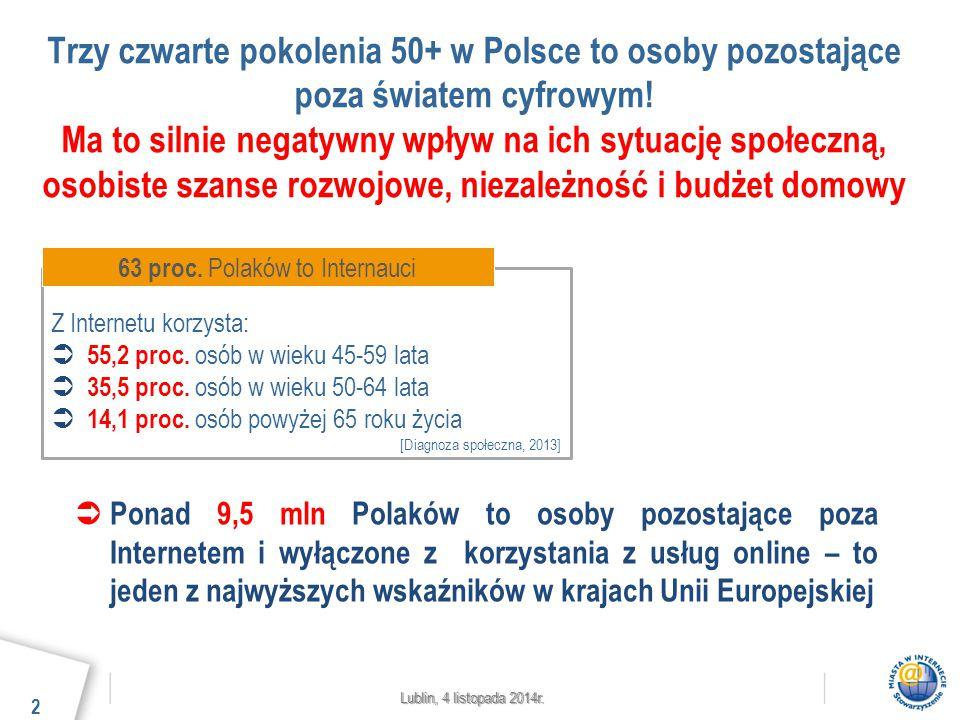 Lublin, 4 listopada 2014r. Trzy czwarte pokolenia 50+ w Polsce to osoby pozostające poza światem cyfrowym! Ma to silnie negatywny wpływ na ich sytuacj