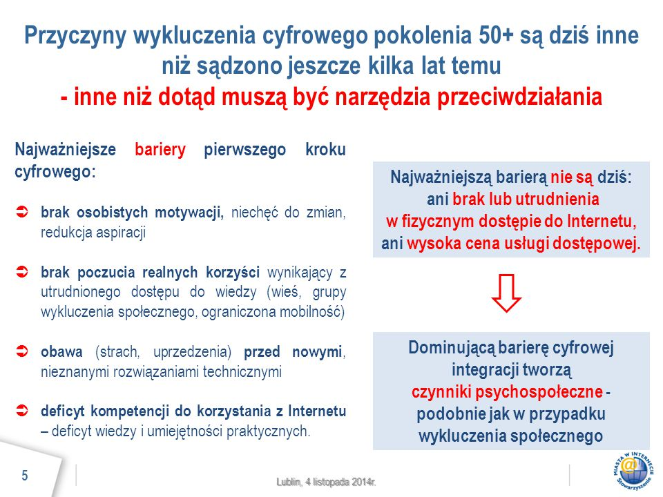 Lublin, 4 listopada 2014r. Przyczyny wykluczenia cyfrowego pokolenia 50+ są dziś inne niż sądzono jeszcze kilka lat temu - inne niż dotąd muszą być na
