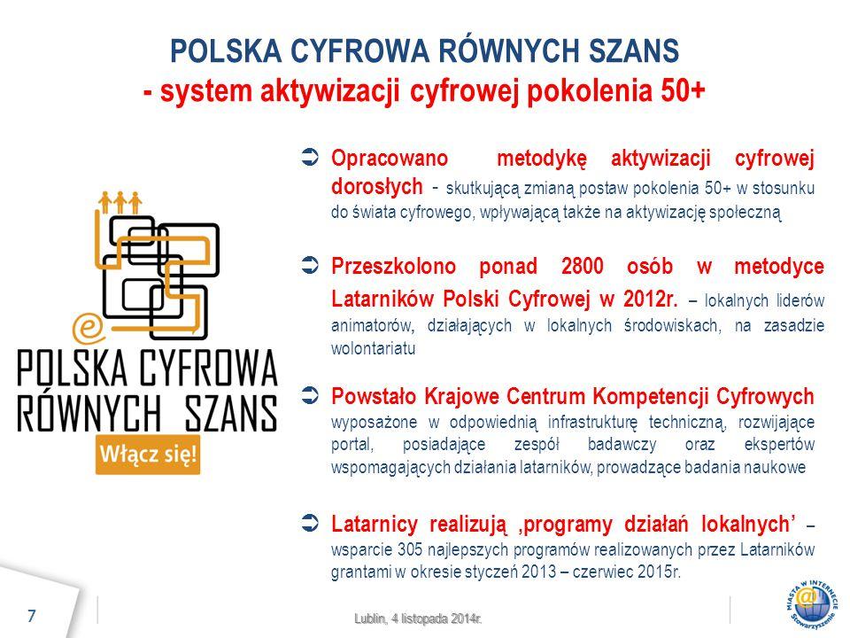 Lublin, 4 listopada 2014r. POLSKA CYFROWA RÓWNYCH SZANS - system aktywizacji cyfrowej pokolenia 50+ 7  Przeszkolono ponad 2800 osób w metodyce Latarn