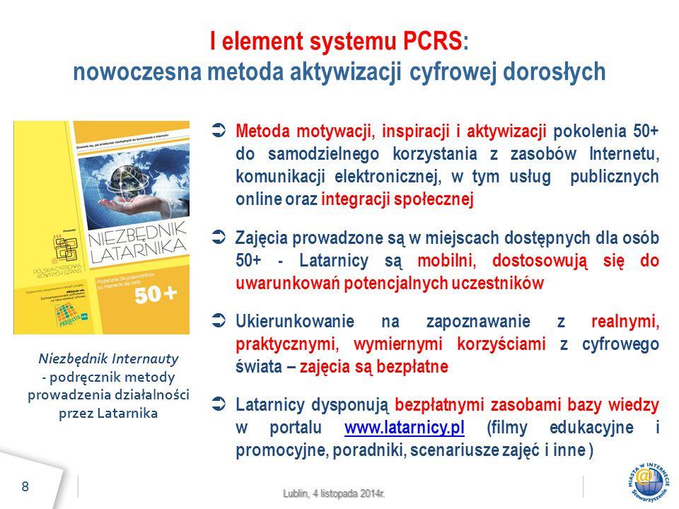 Lublin, 4 listopada 2014r. I element systemu PCRS: nowoczesna metoda aktywizacji cyfrowej dorosłych 8  Metoda motywacji, inspiracji i aktywizacji pok