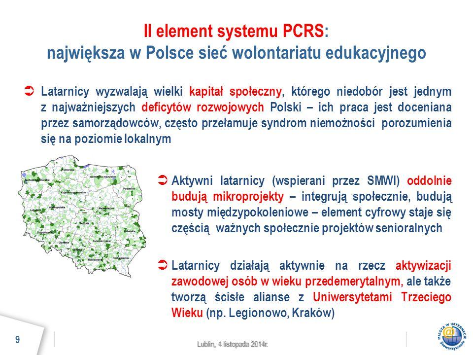 Lublin, 4 listopada 2014r. II element systemu PCRS: największa w Polsce sieć wolontariatu edukacyjnego  Latarnicy wyzwalają wielki kapitał społeczny,
