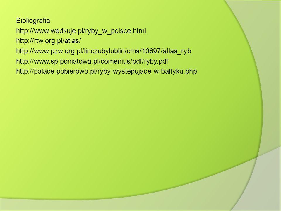 Bibliografia http://www.wedkuje.pl/ryby_w_polsce.html http://rtw.org.pl/atlas/ http://www.pzw.org.pl/linczubylublin/cms/10697/atlas_ryb http://www.sp.