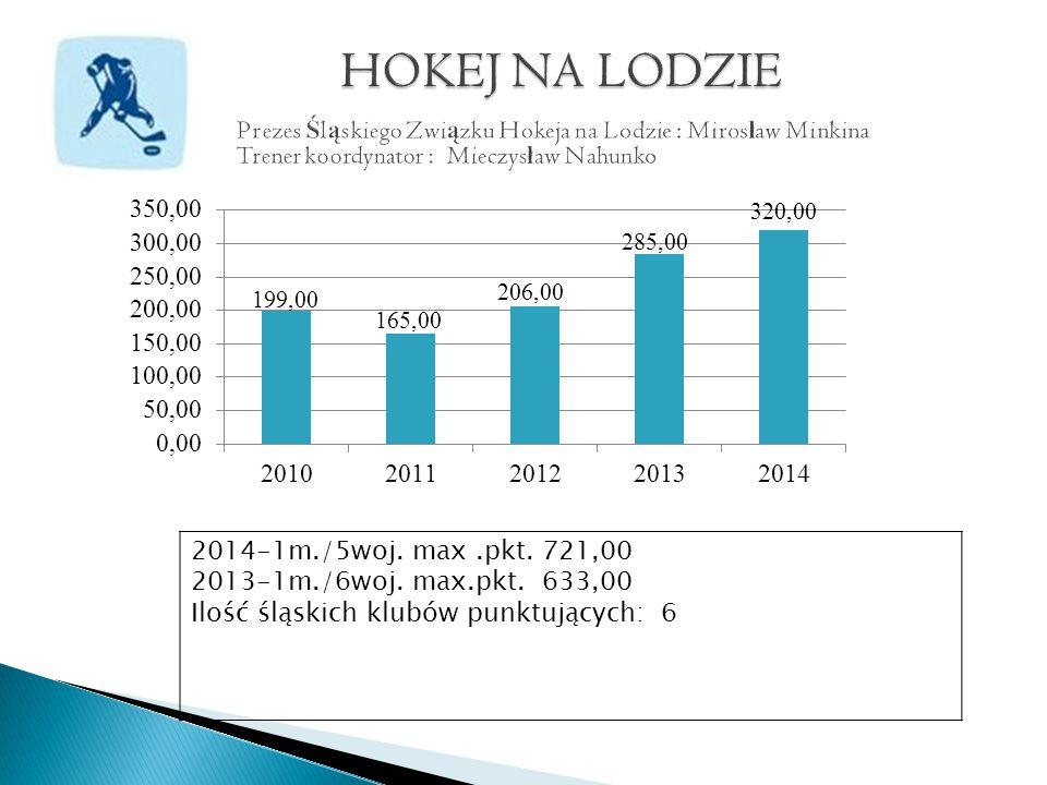 2014-1m./5woj. max.pkt. 721,00 2013-1m./6woj. max.pkt. 633,00 Ilość śląskich klubów punktujących: 6