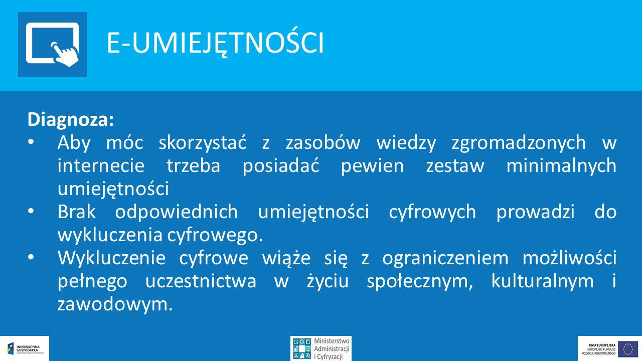 E-UMIEJĘTNOŚCI Działania: Rozwój e-umiejętności jest jednym z priorytetów Narodowego Planu Szerokopasmowego i Programu Operacyjnego Polska Cyfrowa.