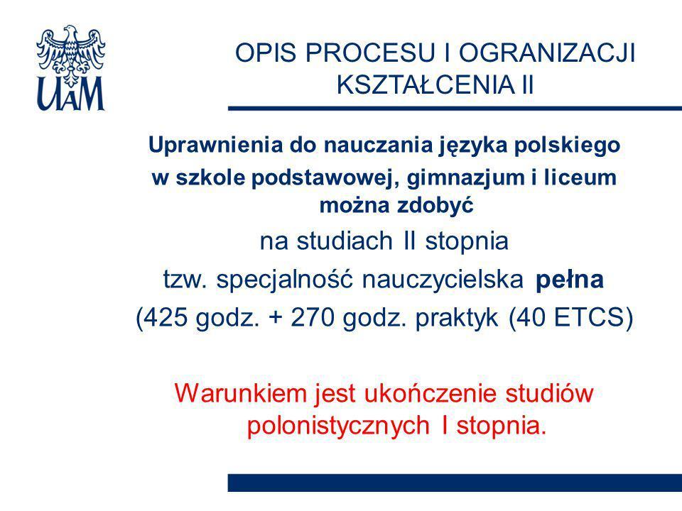 Uprawnienia do nauczania języka polskiego w szkole podstawowej, gimnazjum i liceum można zdobyć na studiach II stopnia tzw.