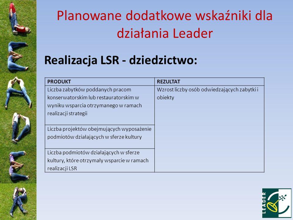 Planowane dodatkowe wskaźniki dla działania Leader Realizacja LSR - dziedzictwo: PRODUKTREZULTAT Liczba zabytków poddanych pracom konserwatorskim lub restauratorskim w wyniku wsparcia otrzymanego w ramach realizacji strategii Wzrost liczby osób odwiedzających zabytki i obiekty Liczba projektów obejmujących wyposażenie podmiotów działających w sferze kultury Liczba podmiotów działających w sferze kultury, które otrzymały wsparcie w ramach realizacji LSR