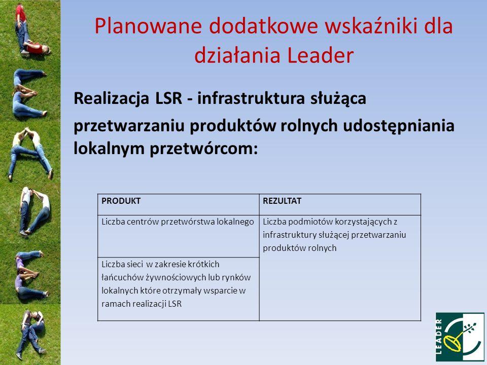Planowane dodatkowe wskaźniki dla działania Leader Realizacja LSR - infrastruktura służąca przetwarzaniu produktów rolnych udostępniania lokalnym przetwórcom: PRODUKTREZULTAT Liczba centrów przetwórstwa lokalnego Liczba podmiotów korzystających z infrastruktury służącej przetwarzaniu produktów rolnych Liczba sieci w zakresie krótkich łańcuchów żywnościowych lub rynków lokalnych które otrzymały wsparcie w ramach realizacji LSR