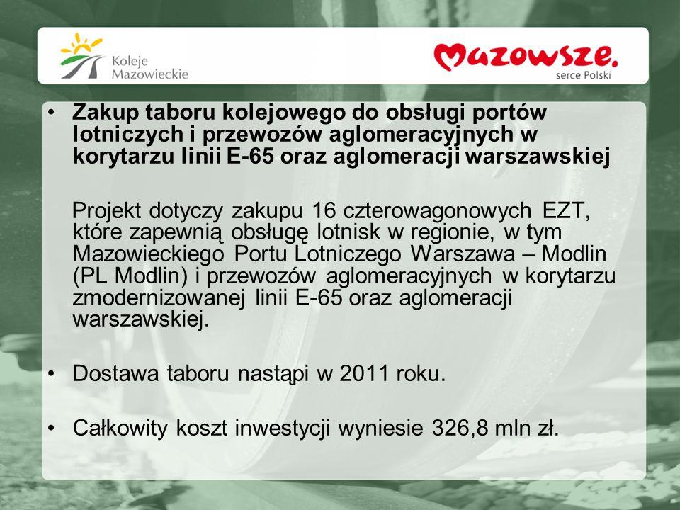 Zakup taboru kolejowego do obsługi portów lotniczych i przewozów aglomeracyjnych w korytarzu linii E-65 oraz aglomeracji warszawskiej Projekt dotyczy
