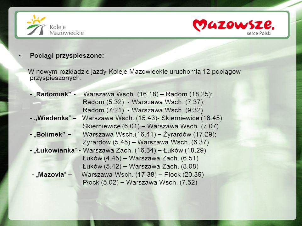 """Pociągi przyspieszone: W nowym rozkładzie jazdy Koleje Mazowieckie uruchomią 12 pociągów przyspieszonych. - """"Radomiak"""" - Warszawa Wsch. (16.18) – Rado"""