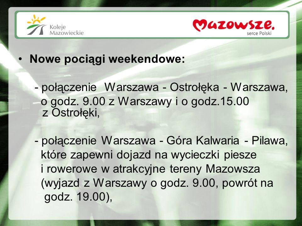 Nowe pociągi weekendowe: - połączenie Warszawa - Ostrołęka - Warszawa, o godz. 9.00 z Warszawy i o godz.15.00 z Ostrołęki, - połączenie Warszawa - Gór