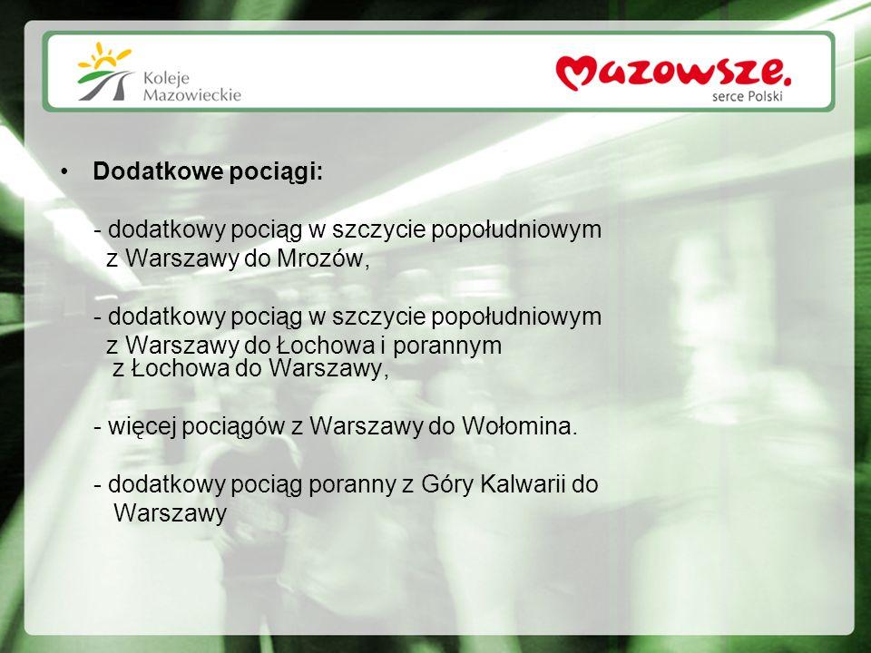 Dodatkowe pociągi: - dodatkowy pociąg w szczycie popołudniowym z Warszawy do Mrozów, - dodatkowy pociąg w szczycie popołudniowym z Warszawy do Łochowa