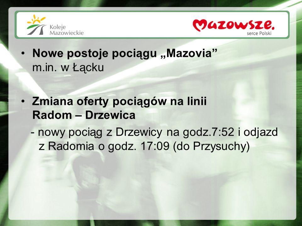 """Nowe postoje pociągu """"Mazovia"""" m.in. w Łącku Zmiana oferty pociągów na linii Radom – Drzewica - nowy pociąg z Drzewicy na godz.7:52 i odjazd z Radomia"""