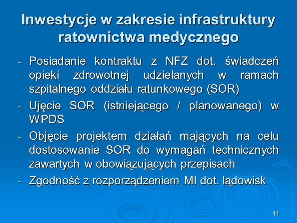 11 Inwestycje w zakresie infrastruktury ratownictwa medycznego - Posiadanie kontraktu z NFZ dot. świadczeń opieki zdrowotnej udzielanych w ramach szpi