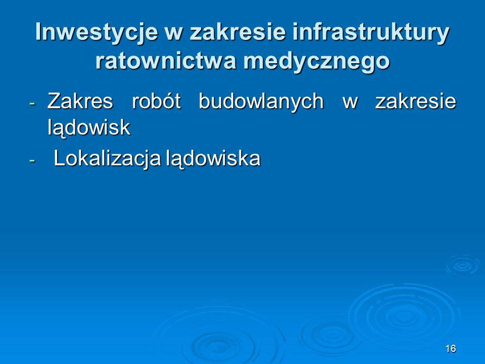 16 Inwestycje w zakresie infrastruktury ratownictwa medycznego - Zakres robót budowlanych w zakresie lądowisk - Lokalizacja lądowiska