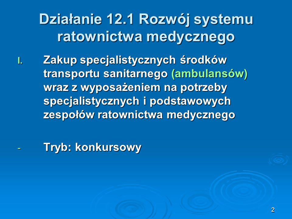 2 Działanie 12.1 Rozwój systemu ratownictwa medycznego I. Zakup specjalistycznych środków transportu sanitarnego (ambulansów) wraz z wyposażeniem na p