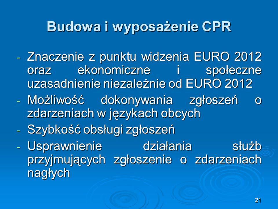 21 Budowa i wyposażenie CPR - Znaczenie z punktu widzenia EURO 2012 oraz ekonomiczne i społeczne uzasadnienie niezależnie od EURO 2012 - Możliwość dokonywania zgłoszeń o zdarzeniach w językach obcych - Szybkość obsługi zgłoszeń - Usprawnienie działania służb przyjmujących zgłoszenie o zdarzeniach nagłych