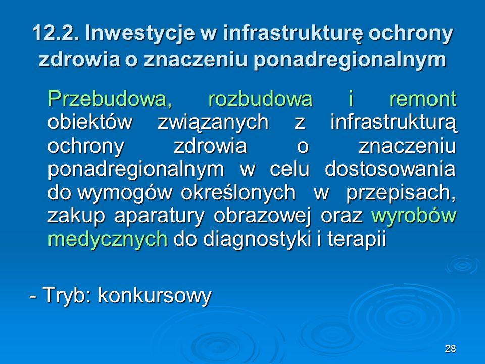 28 12.2. Inwestycje w infrastrukturę ochrony zdrowia o znaczeniu ponadregionalnym Przebudowa, rozbudowa i remont obiektów związanych z infrastrukturą