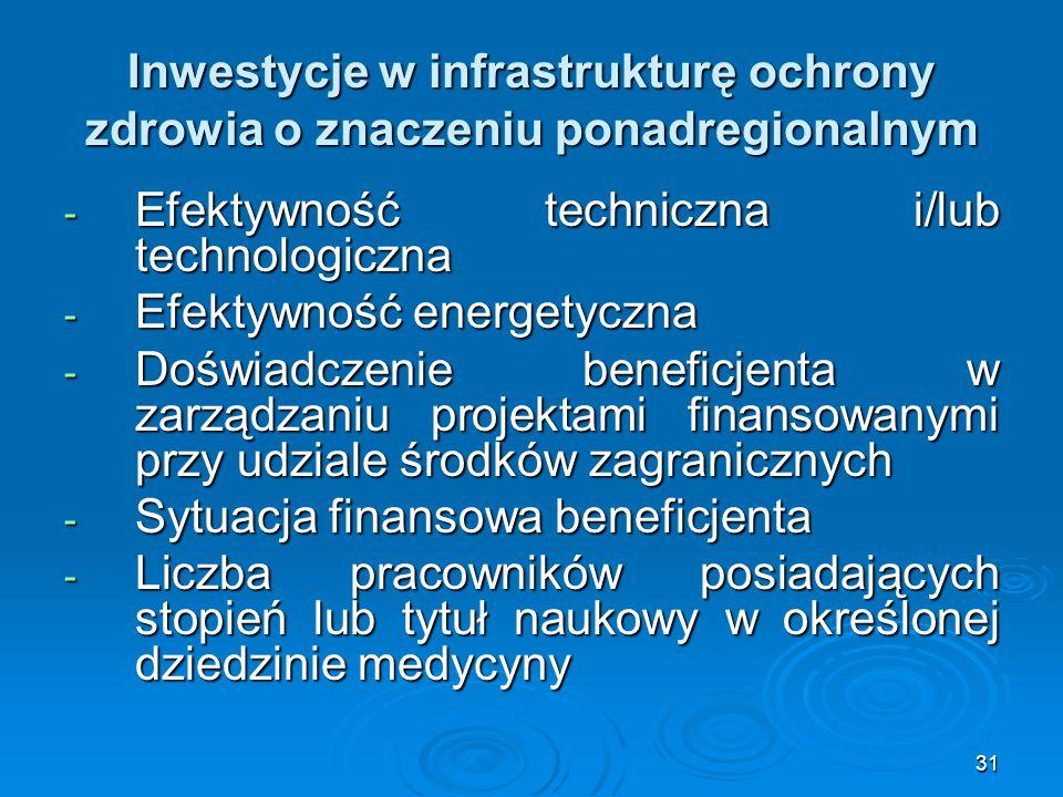 31 Inwestycje w infrastrukturę ochrony zdrowia o znaczeniu ponadregionalnym - Efektywność techniczna i/lub technologiczna - Efektywność energetyczna - Doświadczenie beneficjenta w zarządzaniu projektami finansowanymi przy udziale środków zagranicznych - Sytuacja finansowa beneficjenta - Liczba pracowników posiadających stopień lub tytuł naukowy w określonej dziedzinie medycyny