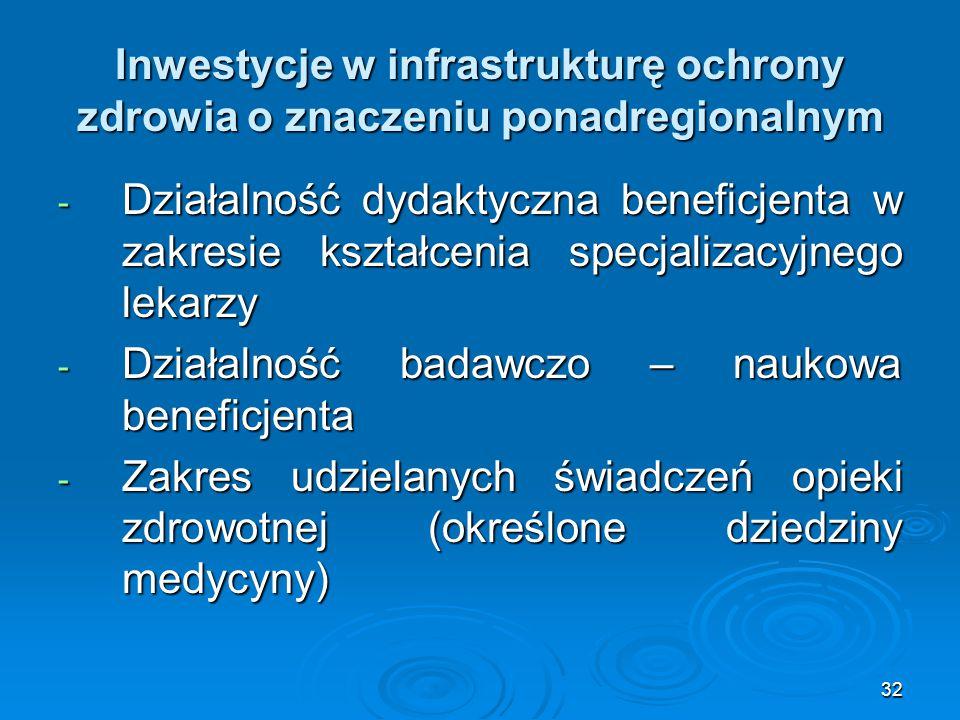32 Inwestycje w infrastrukturę ochrony zdrowia o znaczeniu ponadregionalnym - Działalność dydaktyczna beneficjenta w zakresie kształcenia specjalizacyjnego lekarzy - Działalność badawczo – naukowa beneficjenta - Zakres udzielanych świadczeń opieki zdrowotnej (określone dziedziny medycyny)