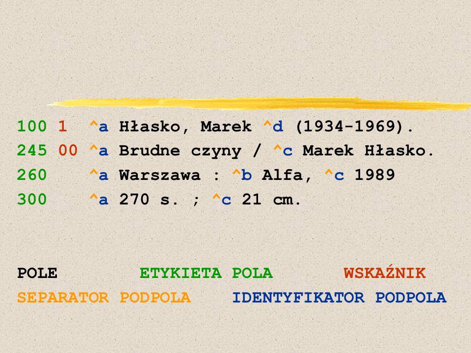 100 1 ^a Hłasko, Marek ^d (1934-1969). 245 00 ^a Brudne czyny / ^c Marek Hłasko. 260 ^a Warszawa : ^b Alfa, ^c 1989 300 ^a 270 s. ; ^c 21 cm. POLE ETY