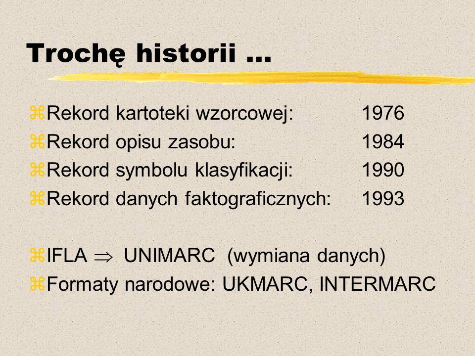 Trochę historii... zRekord kartoteki wzorcowej: 1976 zRekord opisu zasobu:1984 zRekord symbolu klasyfikacji: 1990 zRekord danych faktograficznych:1993